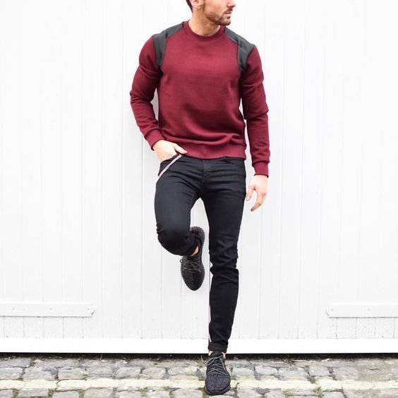 How to Wear a Burgundy Crew-neck Sweater (82 looks) | Men's Fashion