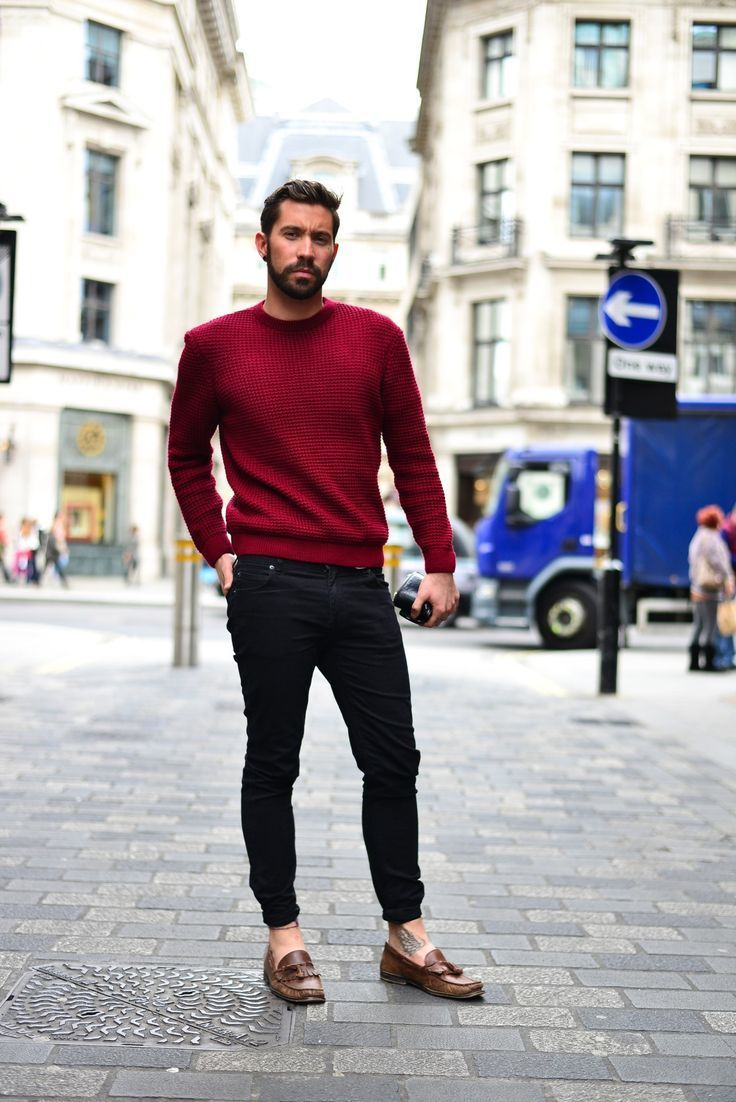 Men's Burgundy Crew-neck Sweater, Black Skinny Jeans, Brown ...