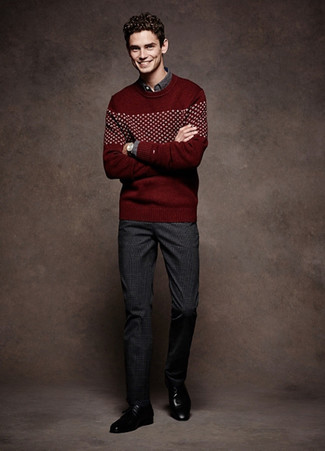 How to wear: burgundy fair isle crew-neck sweater, charcoal long sleeve shirt, charcoal plaid dress pants, black leather derby shoes