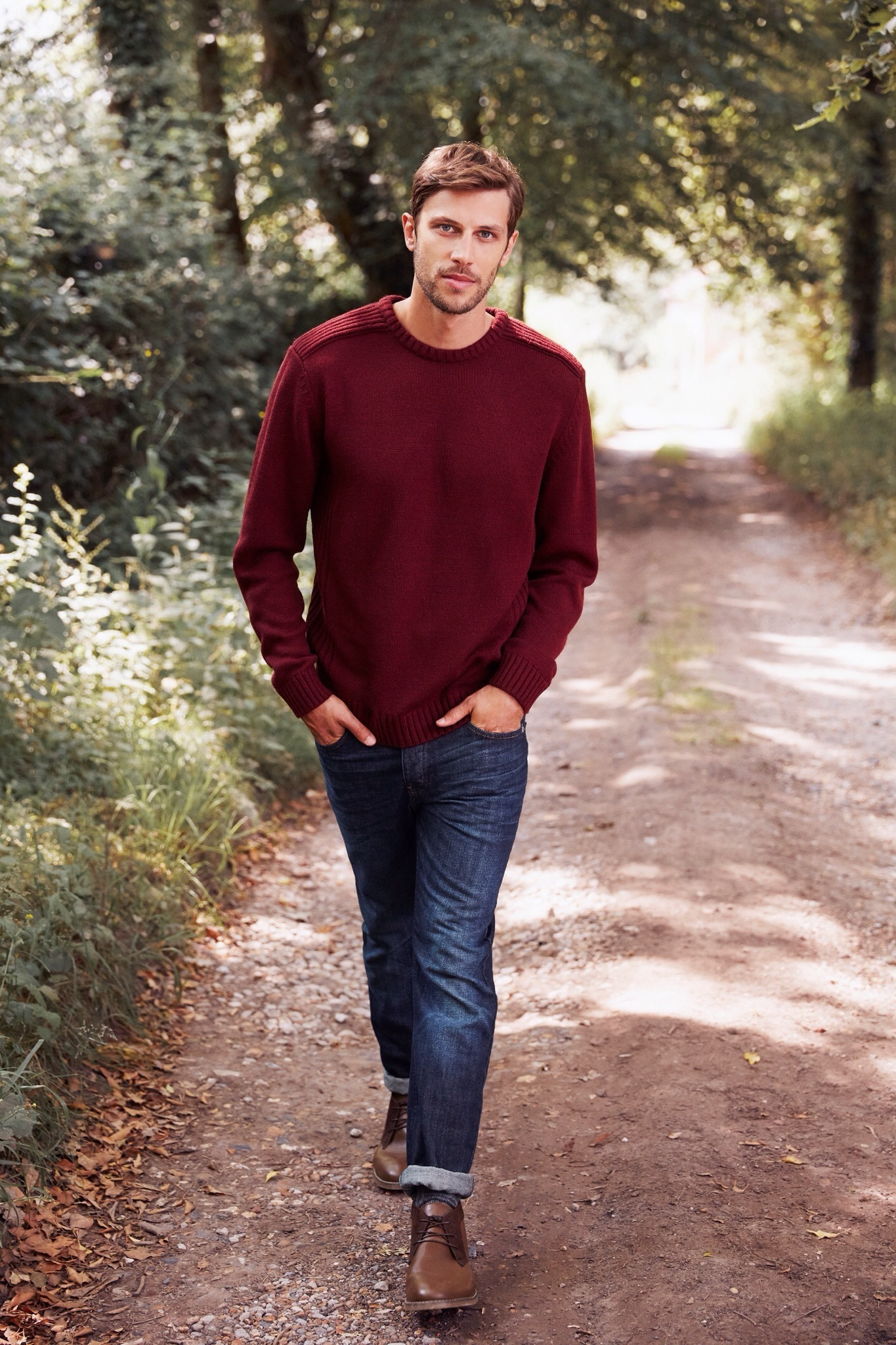 Men's Burgundy Crew-neck Sweater, Navy Jeans, Brown Leather Desert ...