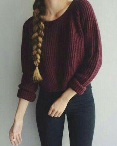 Women's Burgundy Cropped Sweater, Black Leggings | Women's Fashion