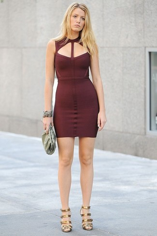 Let everyone know that you know a thing or two about style in a burgundy bodycon dress. Elevate your getup with gold leather heeled sandals.