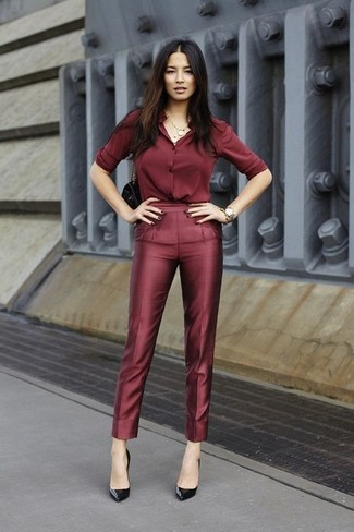 How to wear: burgundy silk dress shirt, burgundy silk dress pants, black pumps, black handbag