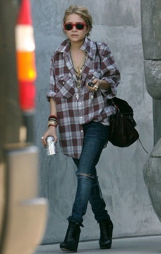 How to wear: burgundy plaid dress shirt, navy ripped skinny jeans, black leather wedge ankle boots, black leather tote bag