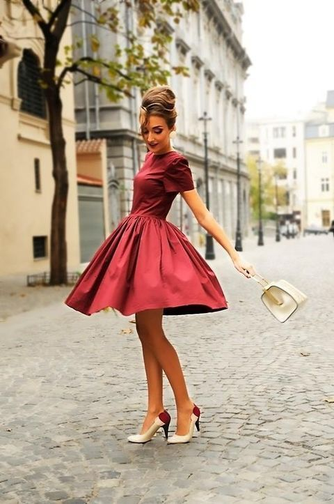 Make A Burgundy Fit And Flare Dress Your Outfit Choice For Stylish Sophisticated Look