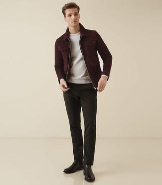 Men's Burgundy Harrington Jacket, Grey Sweatshirt, Dark Green Chinos, Black Leather Chelsea Boots