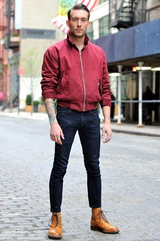 How to Wear Navy Skinny Jeans For Men: For a laid-back and cool look, wear a burgundy harrington jacket and navy skinny jeans — these items work nicely together. Don't know how to finish this look? Rock tan leather brogue boots to ramp it up a notch.