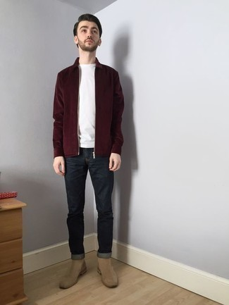 Red and Black Harrington Jacket Outfits: A red and black harrington jacket and charcoal jeans are a combination that every dapper man should have in his casual sartorial collection. Go ahead and complement your ensemble with beige suede chelsea boots for an added touch of elegance.
