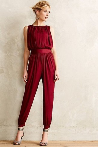 Burgundy jumpsuit grey leather heeled sandals gold earrings large 5573