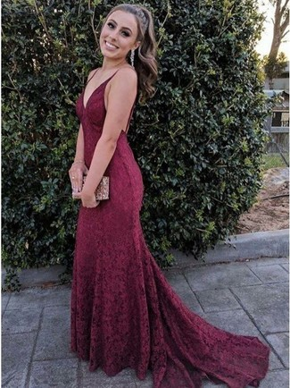 Without any doubt, you'll look outrageously gorgeous in a burgundy lace evening dress and clear earrings. Can you see how super easy it is to look seriously stylish and stay cozy come cooler weather, all thanks to ensembles like this?