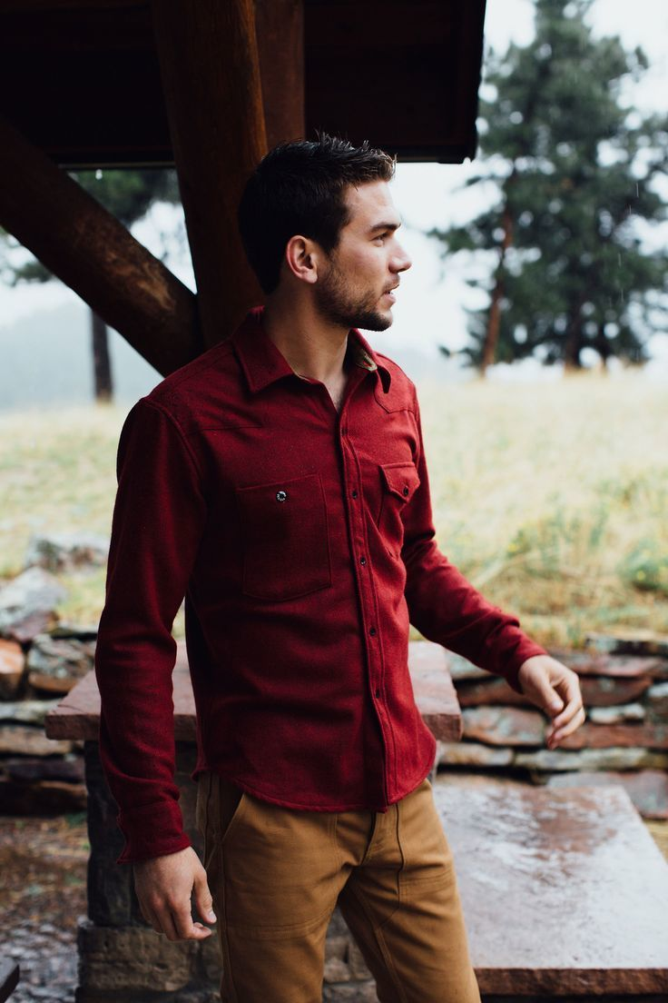Men's Burgundy Long Sleeve Shirt, Brown Chinos | Men's Fashion