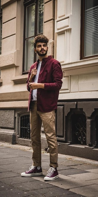 Men's Looks & Outfits: What To Wear In 2020: For a surefire laid-back option, you can't go wrong with this combo of a burgundy long sleeve shirt and khaki chinos. And if you want to immediately play down your getup with a pair of shoes, complement your getup with dark purple canvas high top sneakers.