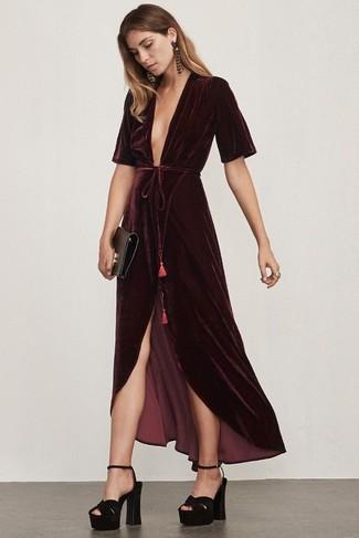 How to wear: burgundy velvet maxi dress, black chunky suede heeled sandals, black leather clutch, burgundy earrings