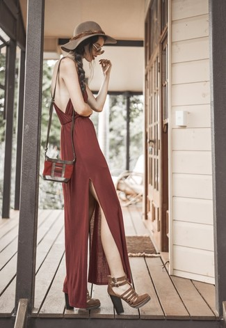 Make a burgundy maxi dress your outfit choice for a comfortable outfit that's also put together nicely. Dark brown heeled sandals will instantly smarten up even the laziest of looks.