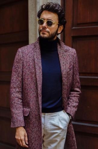How to wear: burgundy herringbone overcoat, navy turtleneck, beige dress pants, tan sunglasses