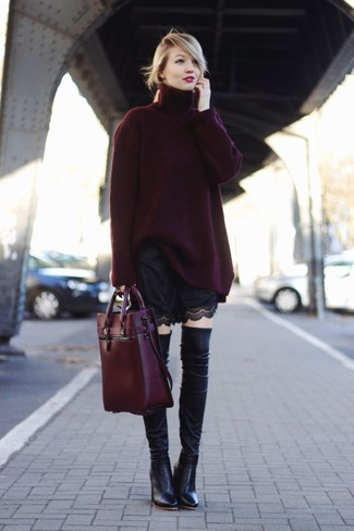 How to wear: burgundy oversized sweater, black lace shorts, black leather over the knee boots, burgundy leather tote bag