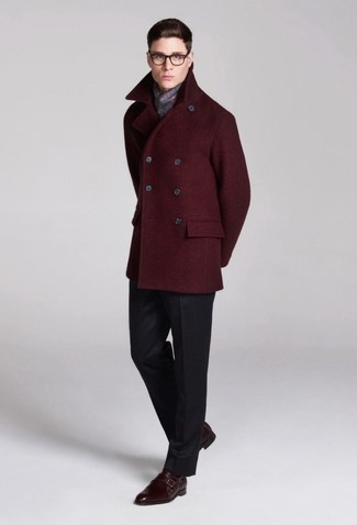 Rock a burgundy pea coat with an Esprit Grid Check Scarf like a true gent. This outfit is complemented perfectly with burgundy leather double monks. It's a good pick if you're figuring out a neat ensemble for transeasonal weather.
