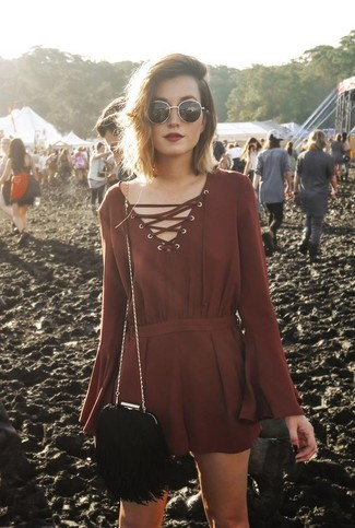 How to wear: burgundy playsuit, black fringe suede crossbody bag, black and gold sunglasses