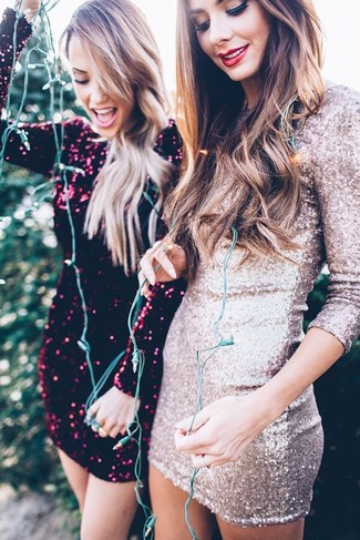 If you're a fan of classic pairings, then you'll like this combo of a silver sequin bodycon dress and a silver sequin bodycon dress. When you have one of those bleak fall days, sometimes only a knockout ensemble like this one can spice it up.