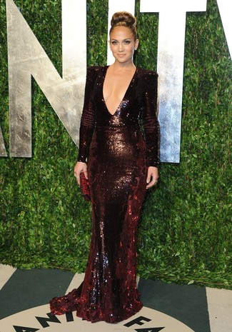 Jennifer Lopez wearing Burgundy Sequin Evening Dress, Burgundy Leather Clutch