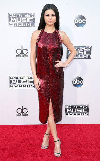 Selena Gomez wearing Burgundy Sequin Sheath Dress, Black Leather Heeled Sandals