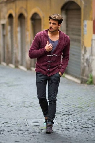How to Wear a Burgundy Shawl Cardigan For Men: This relaxed combo of a burgundy shawl cardigan and charcoal jeans is very easy to throw together in no time, helping you look on-trend and ready for anything without spending a ton of time combing through your wardrobe. The whole outfit comes together perfectly if you complete this outfit with a pair of charcoal suede desert boots.
