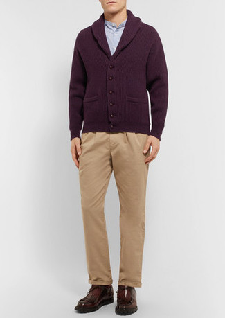 How to Wear a Burgundy Shawl Cardigan For Men: A burgundy shawl cardigan and khaki chinos are the kind of a foolproof combination that you need when you have zero time. Dark brown leather desert boots finish off this outfit quite well.