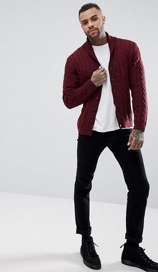 How to Wear a Burgundy Shawl Cardigan For Men: Putting together a burgundy shawl cardigan and black chinos is a guaranteed way to infuse personality into your wardrobe. If you're wondering how to finish, complete this outfit with black suede casual boots.