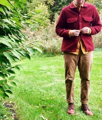 Brown Leather Casual Boots Outfits For Men: A burgundy flannel shirt jacket and khaki chinos work together harmoniously. When not sure about what to wear on the footwear front, add brown leather casual boots to this look.