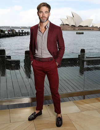 How to wear: burgundy suit, grey long sleeve shirt, black leather loafers