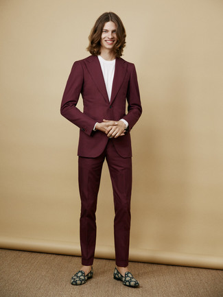 How to wear: burgundy suit, white crew-neck t-shirt, teal suede loafers