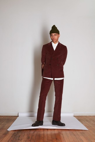 How to wear: burgundy corduroy suit, white dress shirt, dark brown leather monks, olive beanie