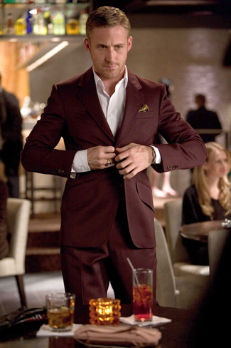 How to Wear a Burgundy Suit: Consider pairing a burgundy suit with a white dress shirt for a truly classic outfit.