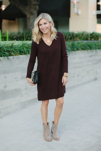 Women's Burgundy Sweater Dress, Beige Suede Ankle Boots, Black Leather Crossbody Bag