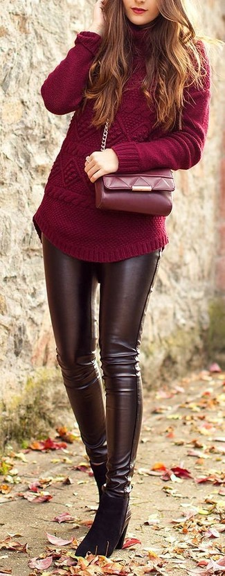A dark red turtleneck and dark brown leather skinny jeans is a smart combination to add to your styling repertoire. This outfit is complemented perfectly with black suede ankle boots.