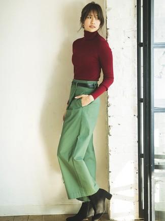 How to wear: burgundy turtleneck, green wide leg pants, black suede ankle boots, black leather belt