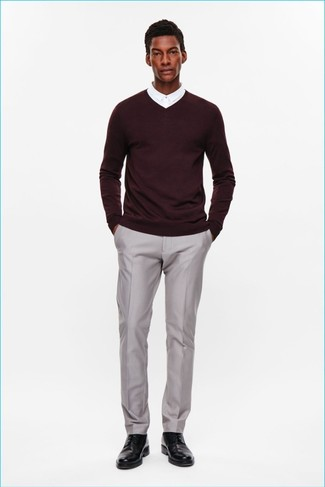 Go For A Burgundy V Neck Sweater And Grey Dress Pants Like True Gent