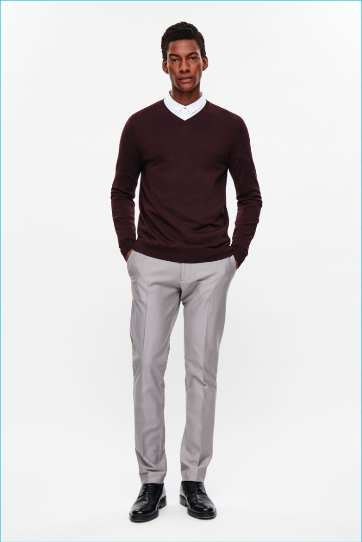 Men's Burgundy V-neck Sweater, White Dress Shirt, Grey Dress Pants ...