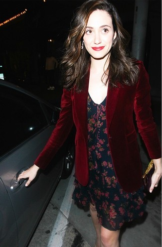 Emmy Rossum wearing Burgundy Velvet Blazer, Navy Floral Tank Dress ...