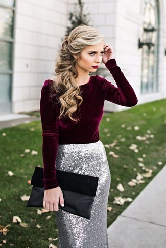 How to wear: burgundy velvet long sleeve blouse, silver sequin pencil skirt, black suede clutch