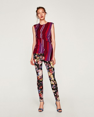 How to wear: burgundy vertical striped sleeveless top, black floral leggings, navy leather heeled sandals