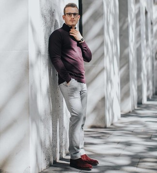 How to wear: burgundy zip neck sweater, grey chinos, burgundy suede chelsea boots, black leather watch