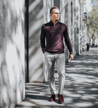 How to wear: burgundy zip neck sweater, grey dress pants, burgundy suede chelsea boots, black leather watch