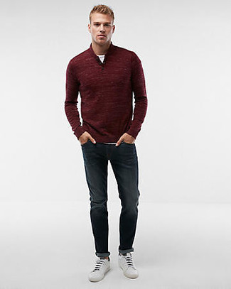 How to wear: burgundy zip neck sweater, white crew-neck t-shirt, navy jeans, white leather low top sneakers