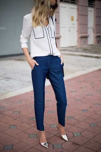 How to wear: white button down blouse, navy dress pants, silver leather pumps, black leather crossbody bag