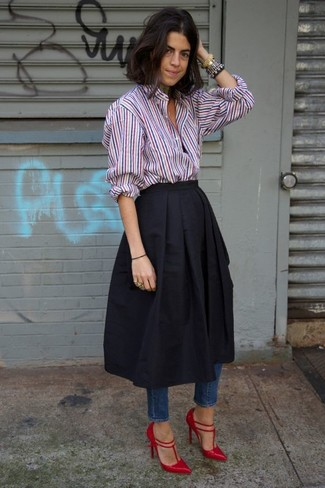 A multi colored striped button down blouse and a black full skirt will give off this very sexy and chic vibe. For the maximum chicness grab a pair of black leather pumps.