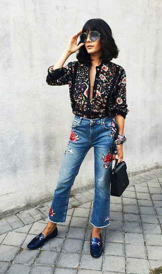 How to wear: black print button down blouse, blue embroidered jeans, blue leather driving shoes, black leather satchel bag