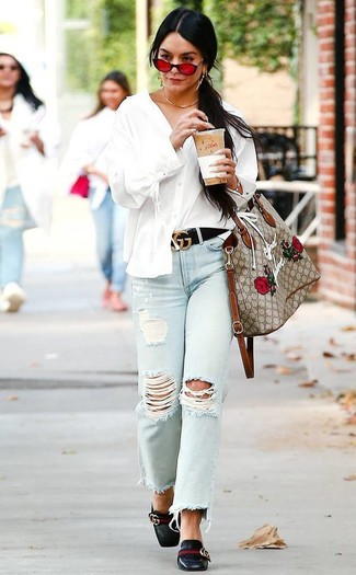 How to wear: white button down blouse, light blue ripped jeans, black leather loafers, beige embroidered canvas tote bag
