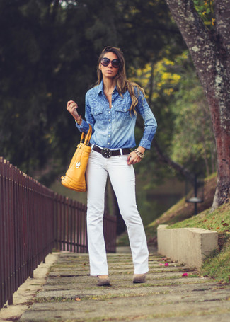 A blue chambray button down blouse and white jeans are a great outfit formula to have in your arsenal. Givenchy Suede Pointed Toe Pumps will become an ideal companion to your style. With the departure of snow come warmer afternoons and balmy nights and the need for a fresh outfit just like this one.