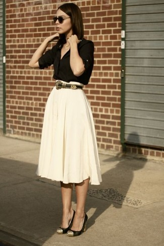 How to wear: black button down blouse, beige pleated midi skirt, black and gold suede pumps, dark brown leather belt